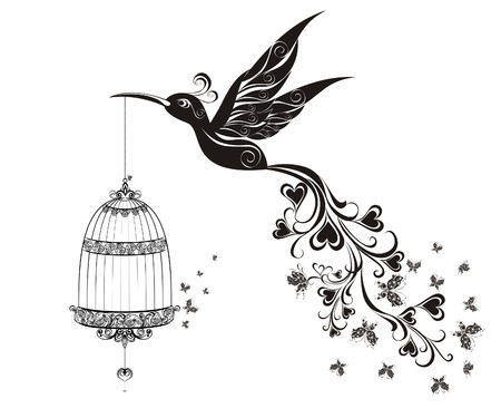 Birds out of cages. Freedom concept. Vector illustration