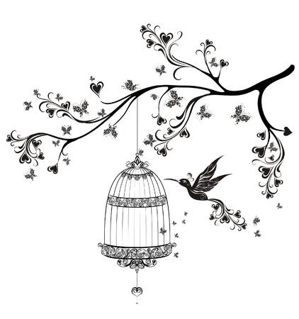 새장의 새. 봄 새들이 나뭇 가지에 비행. 벡터 일러스트 레이 션