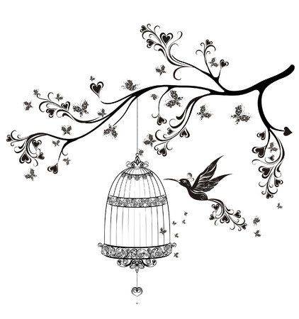 hanging on: Birds out of cages. Spring birds flying on the branch. Vector illustration