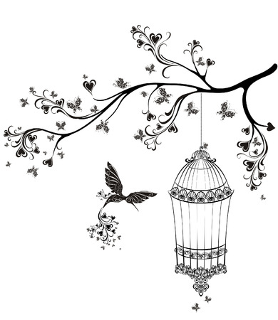 Birds out of cages. Spring birds flying on the branch. Vector illustration