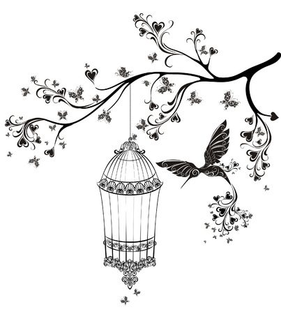 cage: Birds out of cages. Spring birds flying on the branch. Vector illustration