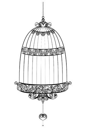Vintage vogelkooien op een witte achtergrond, vector illustratie Stock Illustratie