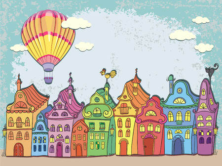 Vintage card with urban landscape. Old town with colored retro houses and hot air balloon over the city. Cartoon vector hand drawn. Vector