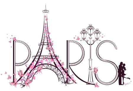 liefde: De toren van Eiffel met Paris letters illustratie
