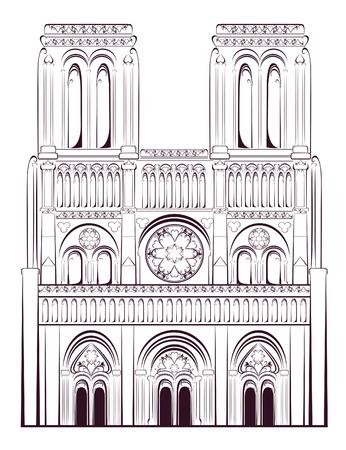 Notre Dame de Paris Cathedral in France. French travel landmark. Vector illustration.  Vector