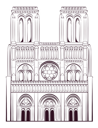 Notre Dame de Paris Cathedral in France. French travel landmark. Vector illustration.
