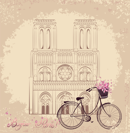 Bonjour Paris text with Notre Dame de Paris Cathedral and bicycle  Vector