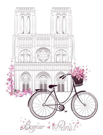 Bonjour Paris tekst met kathedraal Notre Dame de Paris en fiets. Romantische postkaart uit Frankrijk. Vector illustratie.