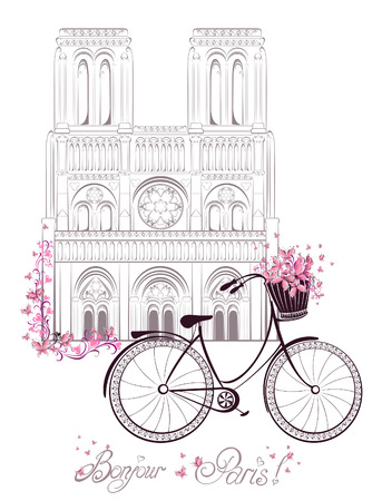 notre: Bonjour Paris text with Notre Dame de Paris Cathedral and bicycle. Romantic postcard from France. Vector illustration. Illustration