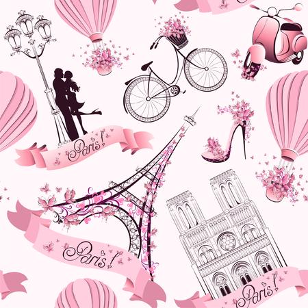 パリ パリのロマンチックな旅行のシームレスなパターンをシンボルします。  イラスト・ベクター素材