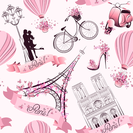 Paris symbols seamless pattern  Romantic travel in Paris