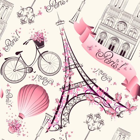 Paris symbols seamless pattern. Romantic travel in Paris. Vector  Vettoriali