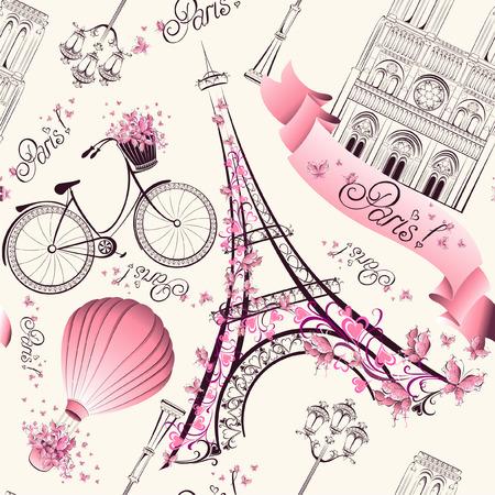 Paris szimbólumok zökkenőmentes minta. Romantikus utazás Párizsban. Vector