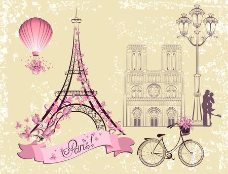 mode retro: Parijs symbolen en bezienswaardigheden. Romantische postkaart uit Parijs. Vector set Stock Illustratie