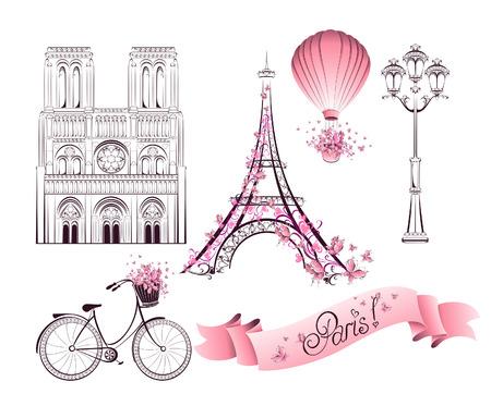 paris vintage: Símbolos y monumentos de París. Vector conjunto