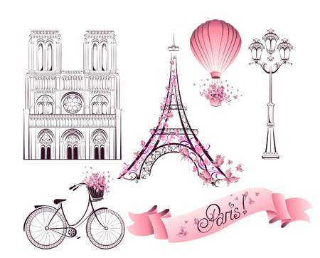 Touring: Symbole Paryż i zabytków. Wektor Ilustracja