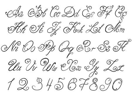 Vettore disegnato a mano di calligrafia lettere alfabeto disegnati a mano Vettoriali
