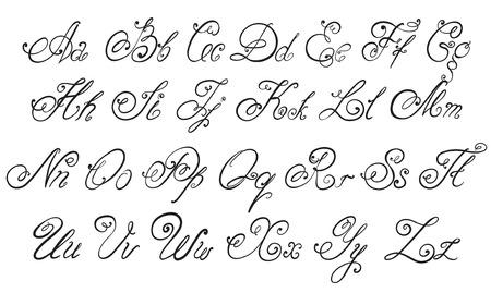 벡터 손 붓글씨 알파벳 손으로 그린 글자를 그려