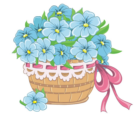gift basket: Wicker basket full of flowers daisies isolated on white  Vector illustration