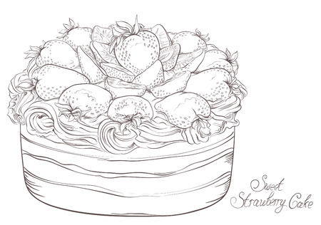 Sweet cake with strawberries and cream  Hand drawn  Vector vintage Illustration Vectores
