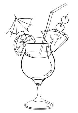 Hand drawn illustration of cocktail   Illustration