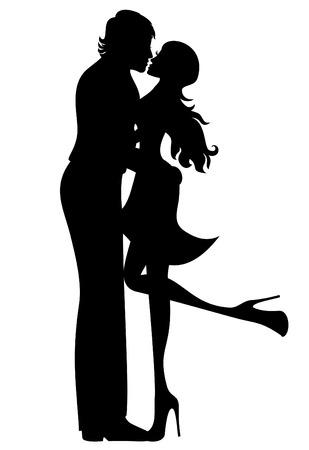 novios besandose: Pares románticos de los amantes de la silueta de la mujer y el hombre besar