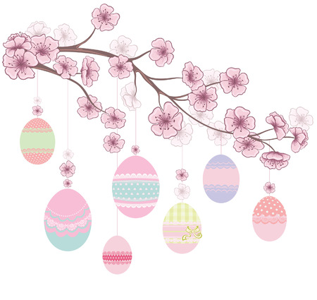 Colored Easter Eggs hanging on Ribbons on branch of cherry blossoms  Decorative spring floral background  Vector illustration