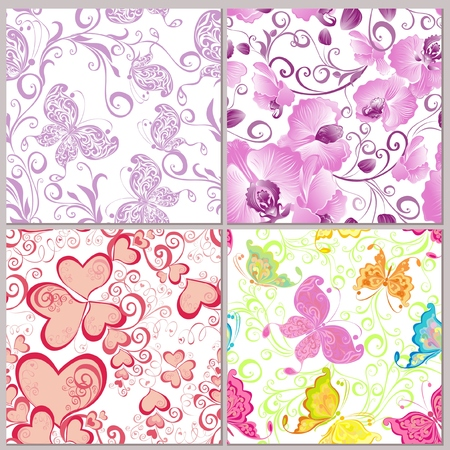 Seamless flowers backgrounds  Collection Summer background whit floral pattern Vector