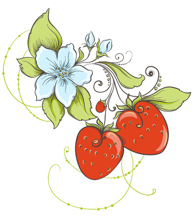 Hand drawn strawberries isolated on white background Vector