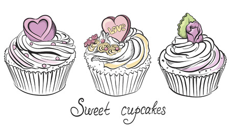 Valentines Cupcake with Hearts and Flowers  Hand drawn vector illustration Vector