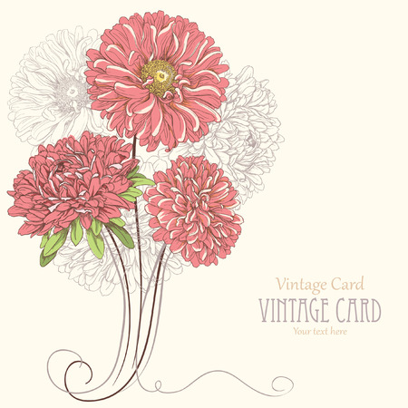 Vintage card with aster flowers  Hand drawn vector illustration Vector