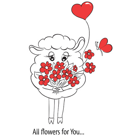 Cartoon cute sheep with red hearts and flowers   Idea for greeting card with Happy Wedding or Valentines Day or Mothers day  Vector doodle illustration  Vector
