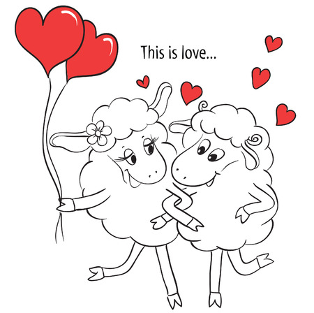 Couple in love  Cartoon Two cute enamored sheep with red hearts  on a swing  Idea for greeting card with Happy Wedding or Valentines Day  Vector doodle illustration