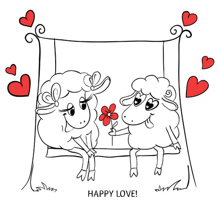 Couple in love. Cartoon Two cute enamored sheep with red hearts  on a swing. Idea for greeting card with Happy Wedding or Valentines Day. Vector doodle illustration. Vector
