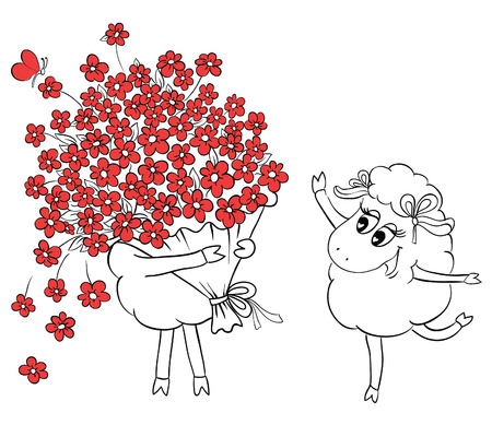 artoon: Couple in love. Two cute sheeps with big beautiful bouquet of flowers. Idea for greeting card with Happy Wedding or Valentines Day. Сartoon doodle vector illustration