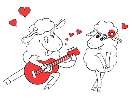 Couple in love. Romantic couple sheep playing serenade on guitar. Idea for greeting card with Happy Wedding or Valentines Day. Сartoon doodle vector illustration Vector