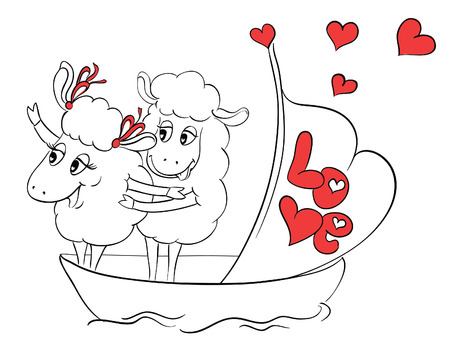 Couple in love. Two happy sheep in funny pose on cruise ship boat on travel vacation holidays.  Idea for greeting card with Happy Wedding or Valentines Day. Сartoon doodle vector illustration Vector