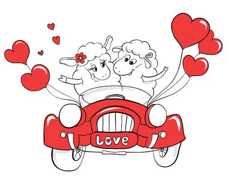just married: Pareja en el amor. Pareja ovejas feliz en coche de la boda. Idea para la tarjeta de felicitación con la boda feliz o el Día de San Valentín. ?artoon ilustración del doodle del vector