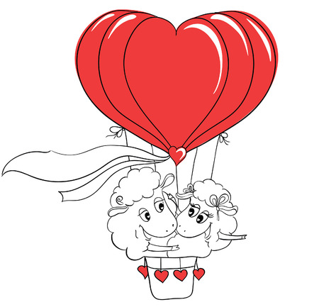 hot couple: Couple in love. Romantic happy couple sheep riding a hot air balloon. Idea for greeting card with Happy Wedding or Valentines Day. Сartoon doodle vector illustration Illustration
