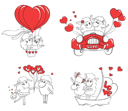 love pictures: Couple in love. Set of funny pictures happy sheep. Idea for greeting card with Happy Wedding or Valentines Day. Cartoon doodle vector illustration