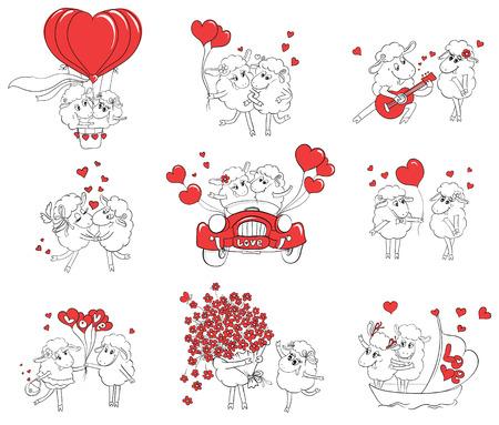 사랑의 커플. 재미있는 사진 행복 양의 집합입니다. 행복한 결혼식이나 발렌타인 데이 인사말 카드에 대 한 아이디어입니다. 만화 낙서 벡터 일러스트