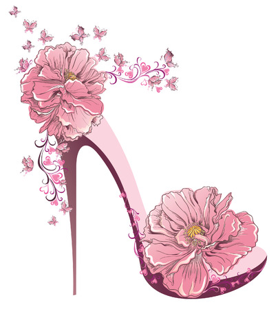 vintage clothing: High heels vintage shoes with flowers