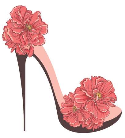 heels shoes: High heels vintage shoes with flowers