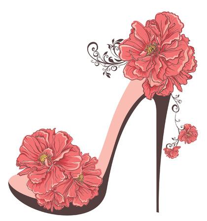 Sapatos de salto alto do vintage com flores