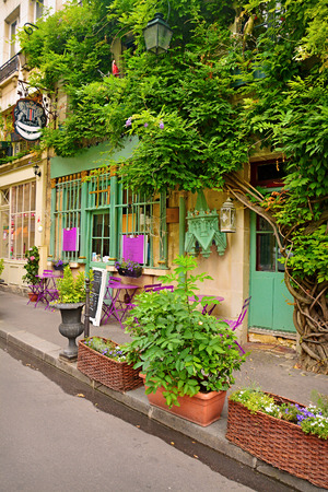 french cafe: Beautiful facade on old street of Paris