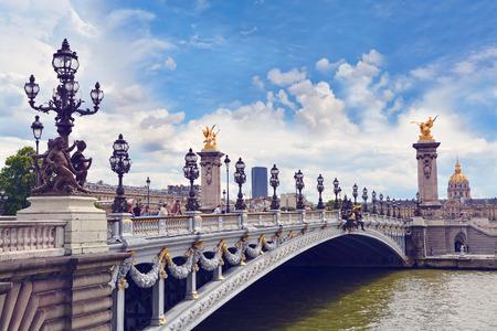 parisian scene: Alexandre III bridge in Paris, France Editorial