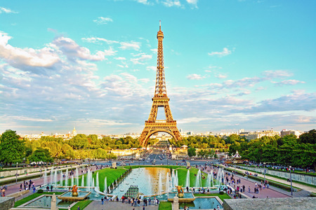 Eiffel Tower and fountain at Jardins du Trocadero, Paris, France