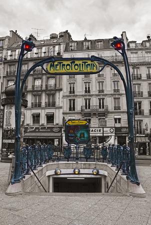 PARIS - AUGUST 17: Metropolitain sign Place de Clichy Station on August 17, 2014 in Paris.