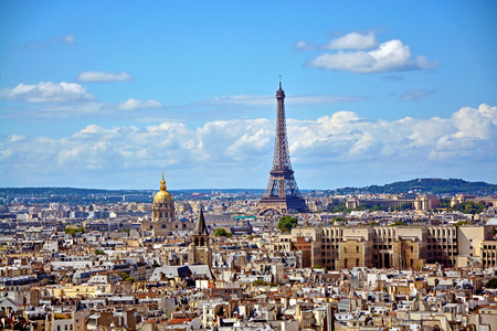 paris street: Aerial view of the Eiffel Tower from Notre Dame de Paris