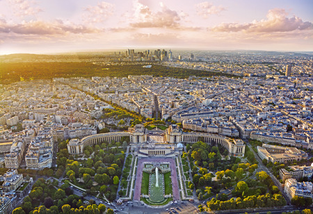 panoramic roof: Aerial view of Paris with Trocadero from Eiffel Tower at sunset, Paris, France